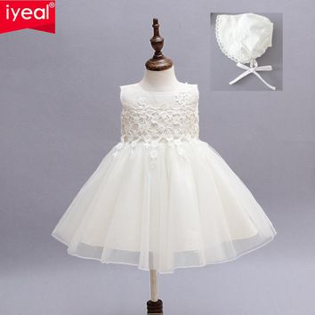IYEAL Baby Girl Pageant Wedding Dresses + Hat Infant Princess Little Girls 1 Year Birthday Party Dress Newborn Christening Gowns