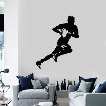 Vinyl Wall Decal Rugby Player with Ball Silhouette Sports Decor Art Stickers Mural (ig5520)