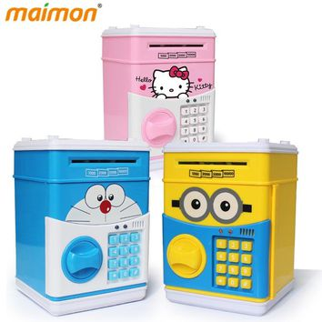 Cute Cartoon ATM Bank Money Saving Box Kitty Password Box Minions Piggy Bank Safe Locks Panda Smart Voice Prompt Money Piggy Box