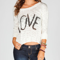 Full Tilt Love Womenssweater Cream  In Sizes