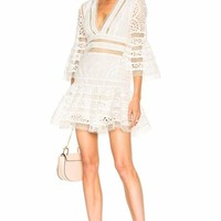 White V-Neck Lace Mini Dress