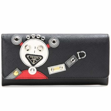 Embellished saffiano leather wallet