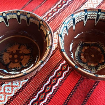 Two serving bowls, soup bowls, Bulgarian pottery, handmade, hand painted, Bulgarian clay bowls,