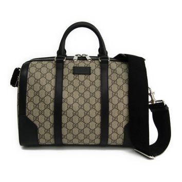 Gucci 406379 Women's GG Supreme Leather Boston Bag Black,GG Beige BF314151