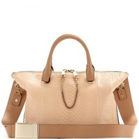 Baylee leather and snakeskin tote