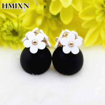DKF4S New Flower Front Back Crystals geometry Earring Cute Double Sided Piercing ball Stud Earrings For Women brincos Pending jewelry