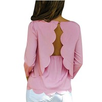 Women Sexy Open Back Backless Blouse Shirt 2017 Summer Style O neck 3/4 Sleeve Casual Solid Color Tops Plus Size S-3XL