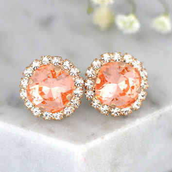 Bridal Peach Earrings, Bridal Light Peach Swarovski Earrings,Crystal Earrings, Bridal Light Peach Earrings, Bridesmaids Coral Peach Earrings