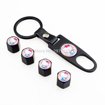 4 x Car Styling Stainless Steel Zinc Alloy Wheel Tire Valve Stems Caps Lovely Hello Kitty Universal With Mini Wrench Key Chain