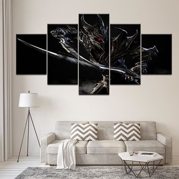 Modular Canvas Wall Art Pictures Frame Home Decor 5 Pieces Elder Scrolls V Skyrim Classic Game Living Room HD Print Game Poster