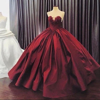 Burgundy New Charming Ball Gown Sweetheart Lace Applique Real Sample Formal Long Prom Dresses For Wedding Party Custom Made