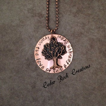 Hand Stamped Family Necklace -from the love of two a family grew- Hand Stamped Jewelry, Family Tree Necklace