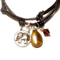 Leather Wrap Charm Bracelet with Elephant by charmeddesign1012