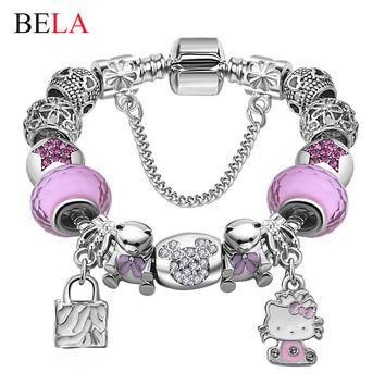 Lovely Gift Candy Styles Murano Glass Beads Kitty Charm Bracelet Fit Original Pandora