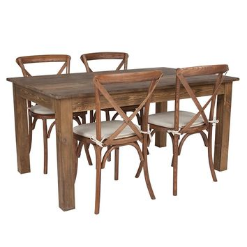 """60"""" x 38"""" Antique Rustic Farm Table Set with 4 Cross Back Chairs and Cushions [XA-FARM-18-GG]"""
