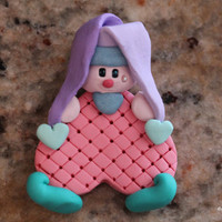 Pastel the Clown, Pastel the Jester, Animal Roundup, polymer clay brooch, clown pin, jester magnet, clown magnet, jester brooch, clay clown