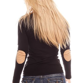 BLACK LONG SLEEVE ELBOW PATCHES CASUAL TOP