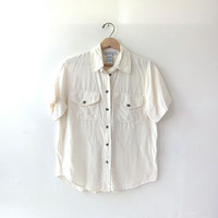 vintage silk shirt. short sleeve silk shirt. ivory white silk top. silk pocket tee shirt.