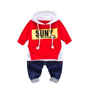 Fashion 2Pcs Infant Toddler Baby Boys Girls Hoodie Sweatshirt Long Sleeve Tops +Pants Outfits Cool Kids Clothes Set