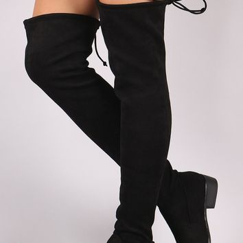 Bamboo Suede Drawstring-Tie Over-The-Knee Riding Boots
