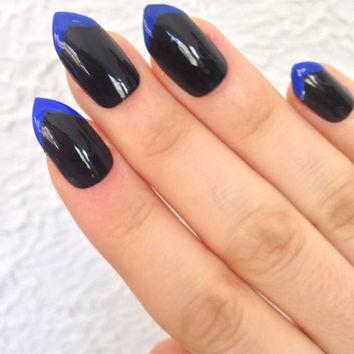 Blue black press-on nails, fake nails, false nails, faux nails, acrylic nails, hand-painted nail set, blue french tip nails