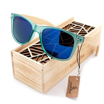 BOBO BIRD Luxury Polarized Sunglasses for Men and Women Bamboo Wood Holder Sun Glasses With Retail Wood Box 2017 Oculos