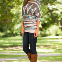 Faded Aztec Top, Grey/Pink