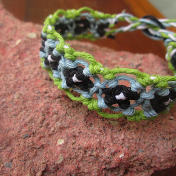 Macrame Bracelet, Hemp Cuff, Lime Green, Blue, Black, White Hemp Hippie Bracelet Hemp Jewelry