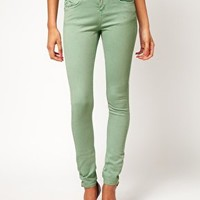 ASOS Skinny Jeans In Soft Turquoise at asos.com