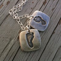 YOUR Children's Footprints In Fine Silver--Baby Feet Squared--Twins--Mom of 2--left and right footprints
