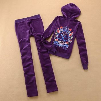 Juicy Couture Crown Logo Flowers Velour Tracksuit 6019 2pcs Women Suits Purple