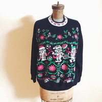 Vintage, Cat,  1980s, Novelty Print, Ugly Christmas Sweater Party,  Holiday Shirt, 1980s Dancing Kittens, Sweatshirt, Top