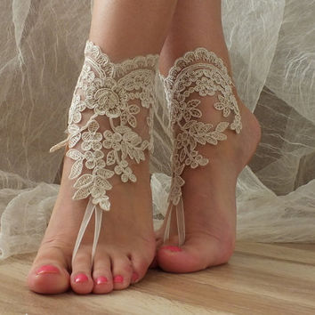 Free ship Champagne Beach wedding barefoot sandals, french lace sandals, wedding anklet, Beach wedding barefoot sandals, embroidered sandals