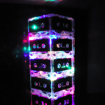 FREE SHIPPING Man Cave Lamp Cassette Tape Mixtape Night Light Lamp Multi-color
