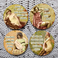 B*tch is the New Black -- MATURE Sassy Ladies Mousepad Coaster Set