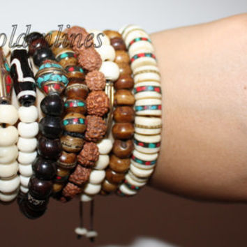 3 elastic wrist mala Yak bone wrist mala Tibetan wrist Mala meditation wrist mala prayer beads rose wood mala prayer bead yoga wrist mala 14