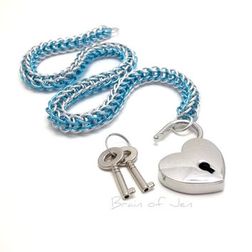 Chainmail Slave Collar Aqua Blue and Silver with Heart Shaped Padlock