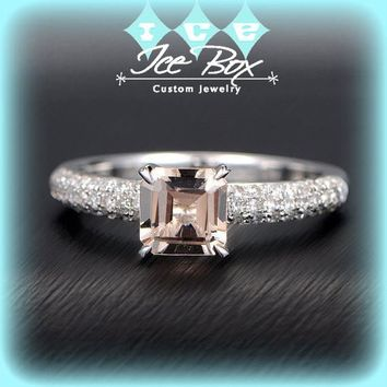 Morganite Engagement Ring 1.2ct Asscher Cut Morganite Solitaire in 14k White Gold Diamond Setting