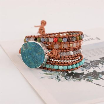 Latest - 5X Leather Wrap Beaded Bracelet Huge OceanStone Bracelet, Boho Chic Jewelry, Bohemian Bracelet Valentine's Gift!