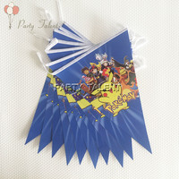 Party supplies 1 set 2.5m Pikachu Pokemon theme party kids birthday party decoration paper banner including 10 flags