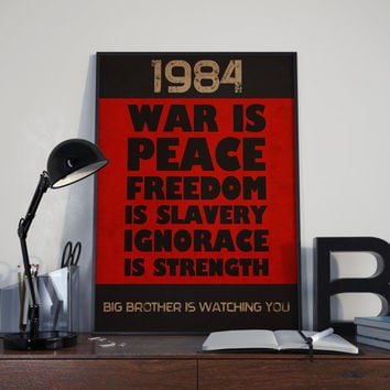1984 George Orwell Book Quote Vintage Poster - Instant Download -  Wall Art Literary Gift Digital Printable
