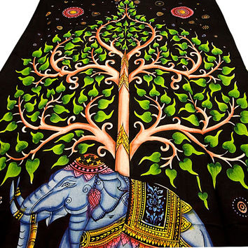Twin elephant tapestry psychedelic hippie boho bohemian wall hanging bedspread bed cover throw tree of life ethnic home decor