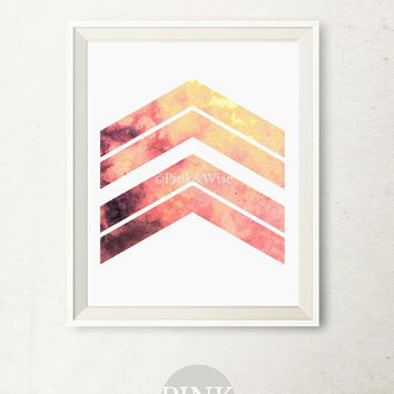 Geometric wall art, Modern wall decor Coral art Chevron arrows art print, Printable wall art, Bedroom decor, Abstract geometric print art