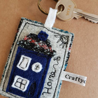 New home new house keyring house applique... colours tweed applique tag key charm your moving- home sweet home- new adventure- leaving