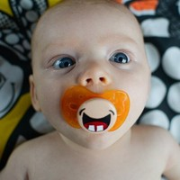 My Two Front Teeth- Custom Hand Painted Pacifier- NUK Style Orange Pac