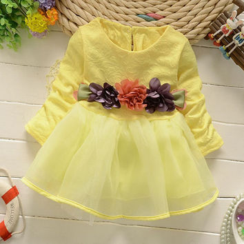 CN Spring and Autumnnew children dresses Cotton + yarn Flowers Waist Decoration long-sleeved dresses 9M-3T baby girls dress
