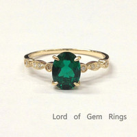 Oval Emerald Engagement Ring Pave  Diamond Wedding 14K Yellow Gold 6x8mm  Art Deco