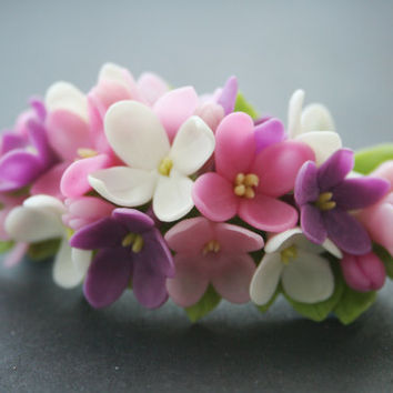 Lilac flower barrette - Spring barrette - Flower hair clip - Romantic hair flower - Spring flower - Clay flower clip - Floral hair accessory