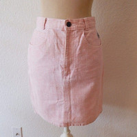 Vintage 80s Pink Checkered Gingham Mini Jean Spring Skirt XSmall Small