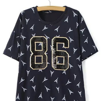 "Sequined ""86"" T-Shirt"